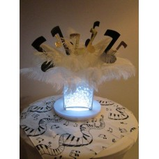 LIGHTED CUBE WITH MUSICAL NOTES & FEATHERS