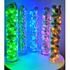 LIGHTED VASE WITH MINI MIRROR BALLS