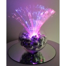 FIBRE OPTIC AND MINI MIRROR BALL DISCO CENTREPIECE