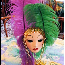 SHOWGIRL MASK ON STAND