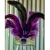 LIGHTED VASE WITH DIAMANTE WRAP & FEATHERS
