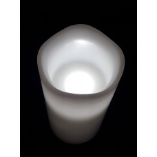 LED WAX PILLAR CANDLE - WHITE FLICKER - 10