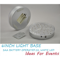 LED LIGHT BASE - CLEAR WHITE - 15CM DIAM
