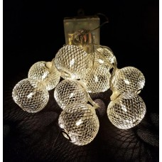 LED Silver Metal Mesh Ball Fairy Light String.