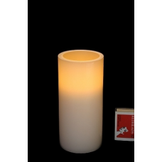 LED WAX PILLAR CANDLE - WARM WHITE/AMBER FLICKER - 15