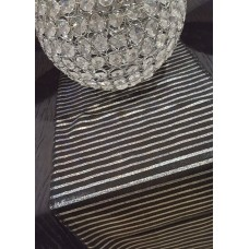 TABLE RUNNER - BLACK AND SILVER STRIPE