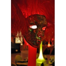 MASQUERADE FEATHER STANDS WITH VENETIAN MASKS