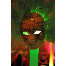 MASQUERADE  FEATHER STAND (LIGHTED) WITH VENETIAN MASKS